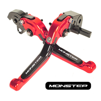 CNC Cut Motorcycle Foldable Brake Clutch Levers W/ Logo (MONSTER) Case for Ducati 696 MONSTER 2009 2010 2011 2012 2013 2014