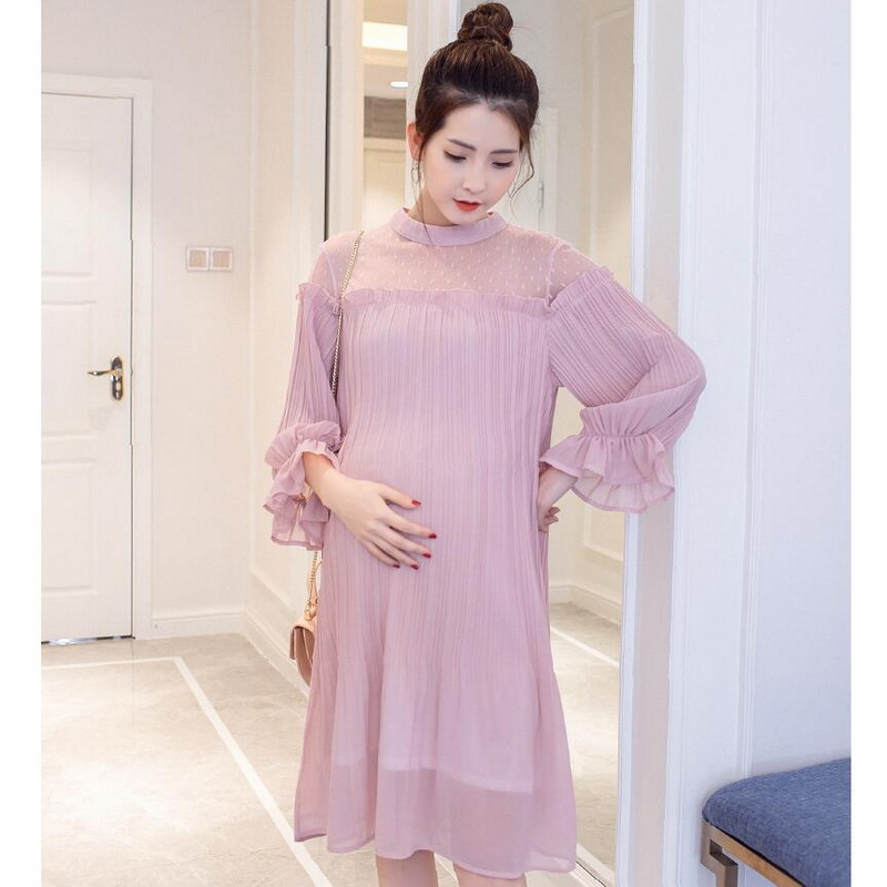 Tonlinker maternity summer dress pleated pregnant women clothing flare three quarter dress photography props chiffon voile dress