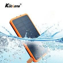 KuChong 10000mAh Solar Power Bank Dual USB Foldable Solar Charger Battery Charger Powerbank for Phone Fast Shipping