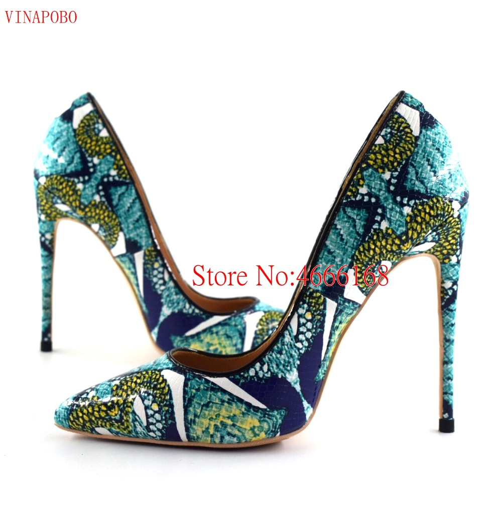 Brand Shoes Fashion Women Pumps Lady Green Graffiti Snake Printed Pointed Toe High Heels Wedding Shoes 12cm10/8cm Stiletto Heels