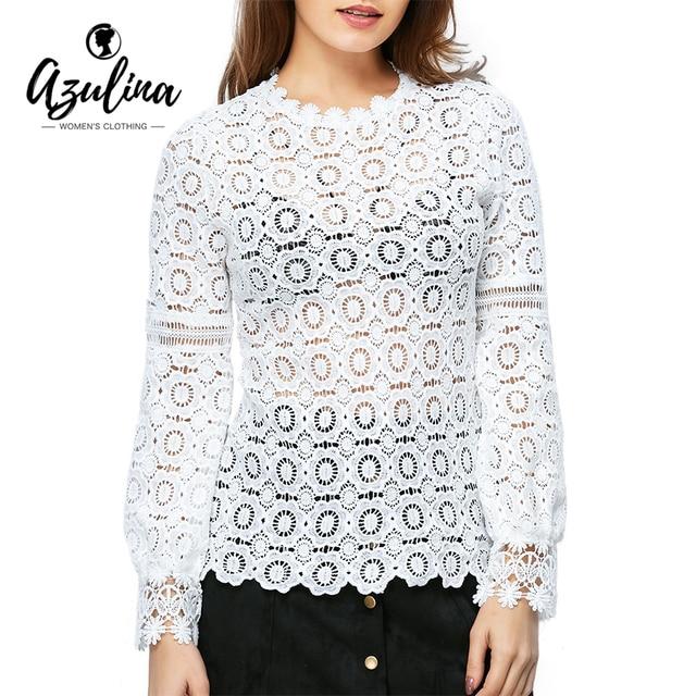 AZULINA Elegant floral lace blouse shirt Women lantern Long sleeve white blouse Autumn Spring hollow out short top Casual blusas