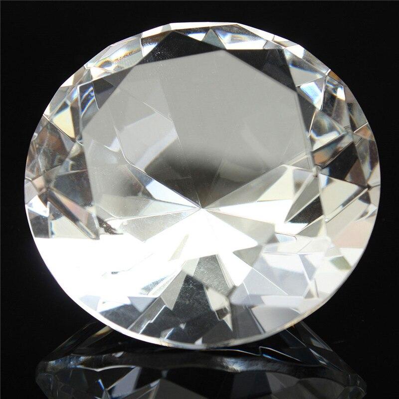 1 pc 60mm / 2.36inch Clair Cristal Diamant Forme Forme Presse-papiers - Décor à la maison - Photo 3