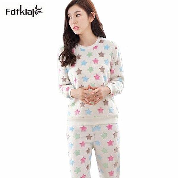 best service 50b86 383cb US $18.15 49% OFF Neue Winter flanell pyjamas frauen langarm karikaturdruck  pyjama set dicke herbst damen nachtwäsche pijama anzug pyjama femme-in ...