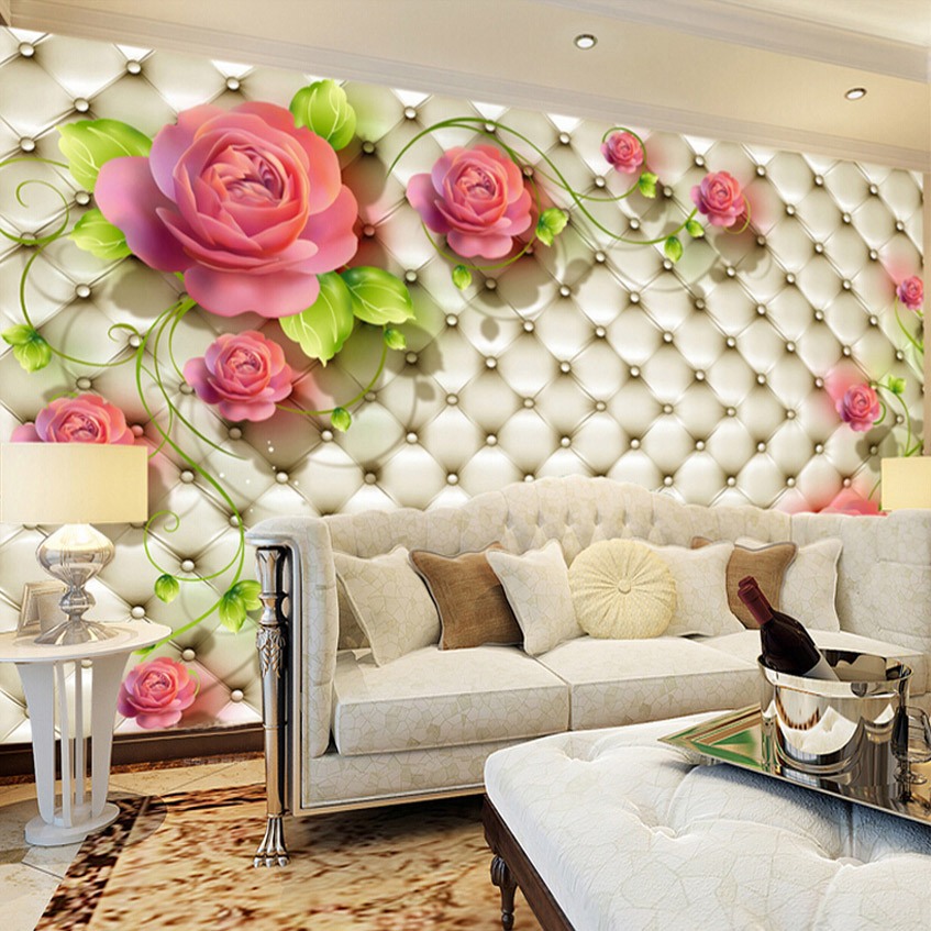 Custom Any Size Photo Wallpaper Modern Fashion Red Rose Flower Wall Mural Wallpaper Bedroom Living Room Sofa Backdrop Wall Paper