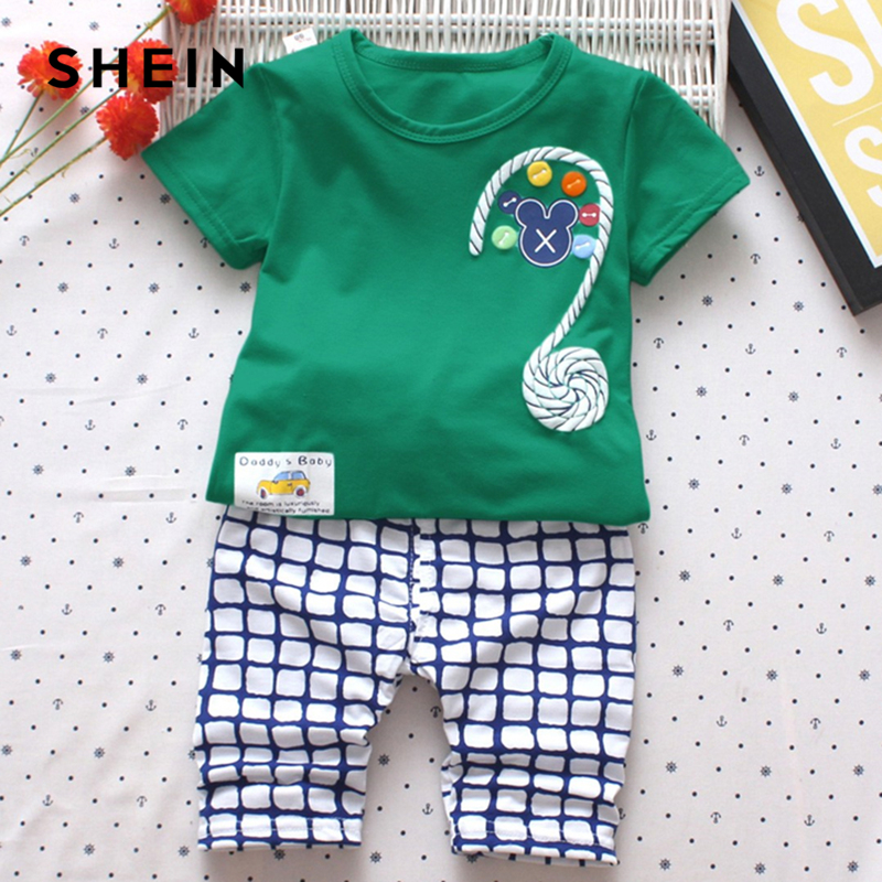 SHEIN Kiddie Cartoon And Letter Print Tee With Plaid Elastic Waist Pants Boys Sets 2019 Summer Short Sleeve Casual Clothes Sets rabbit print plaid night dress