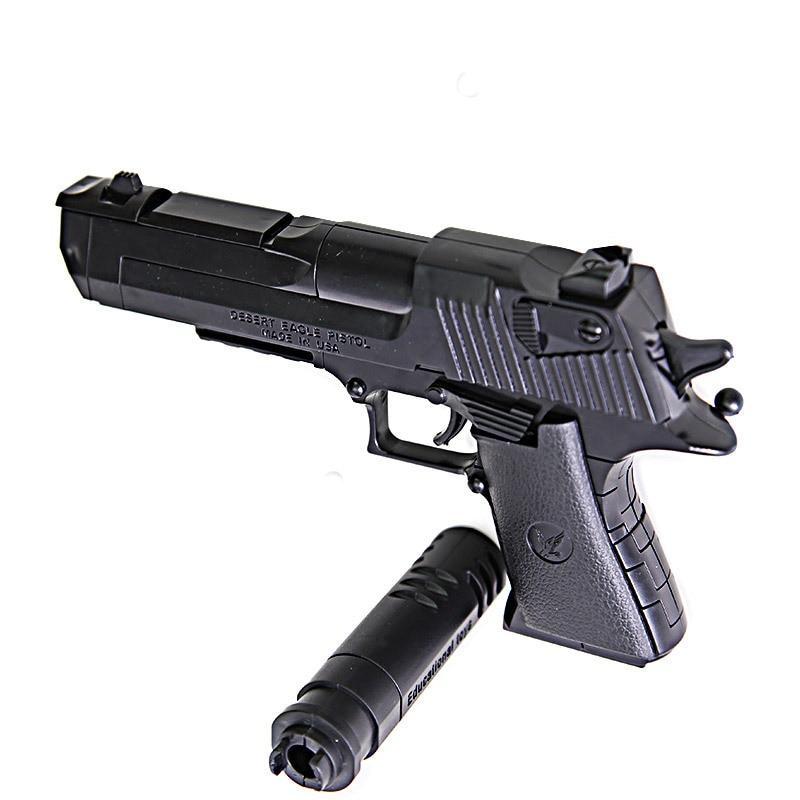 45 Pcs 3 Colors Desert Eagle Building Block Toy Gun for Kids Gift 3D Plastic Silencer Pistol Assemble Model Emit Bullet Gun 3d paper model gun pistol hellboy revolver with bullets firearm oversized model