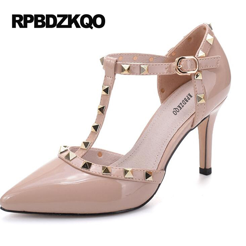 f6960cc1ac6e Size 4 34 High Heels Rivet Party Pointed Toe T Strap Stud Scarpin Pumps 12  44 33 Nude Patent Leather Bar Plus Women Ankle Dress