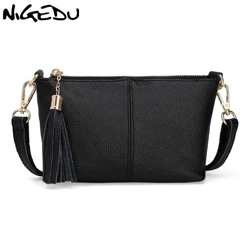 NIGEDU Brand Genuine Leather Bags for Women Crossbody Bags Shoulder Wallets Tassel Clutch Mini Messenger Bags little bag ladies