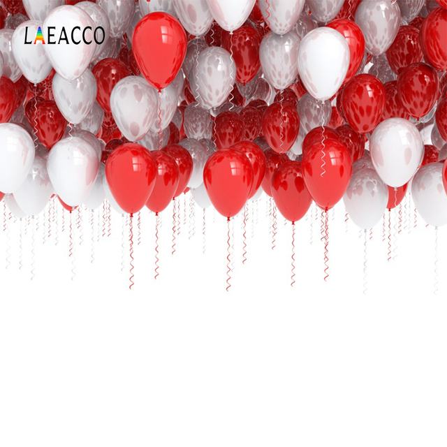 laeacco baby birthday party white red balloons child photography
