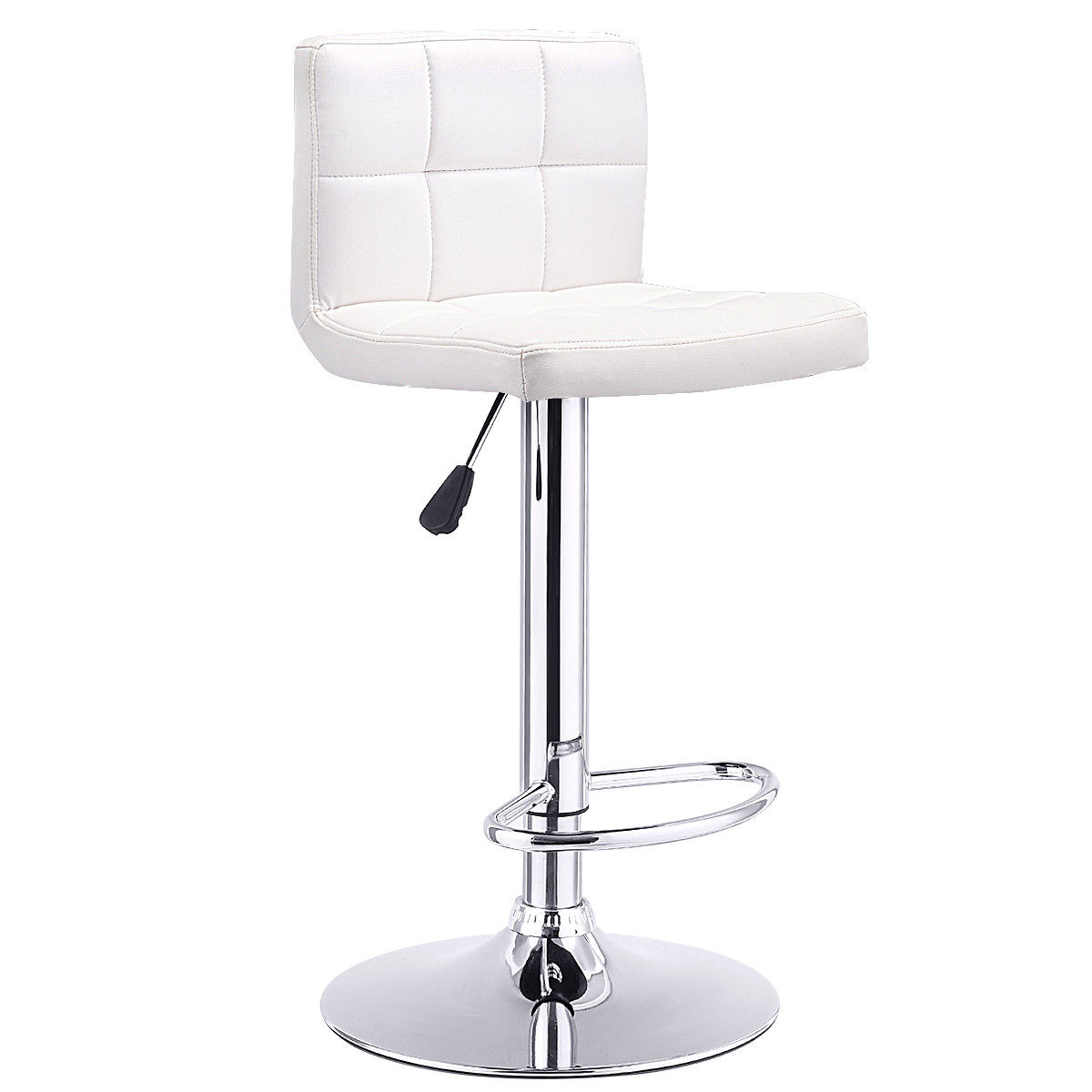 Set of 2 PU Leather Bar Stools Adjustable Height Swivel Pub Chair Kitchen Bistro