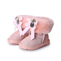 Princess Girls Bow Knot Shoes Snow Boots For Girls Winter Shoes With Fur Kids Genuine Leather