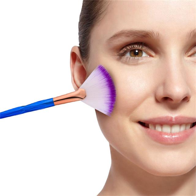SAIANTTH single small fan shape makeup brushes Colorful Gradient Color diamond handle face Powder Foundation Professional beauty