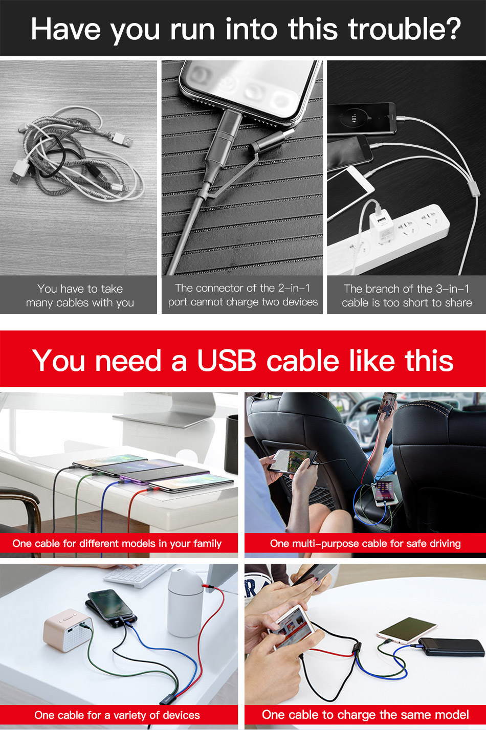 4 in 1 Multi USB Cable - Universal USB Charging Cable 7