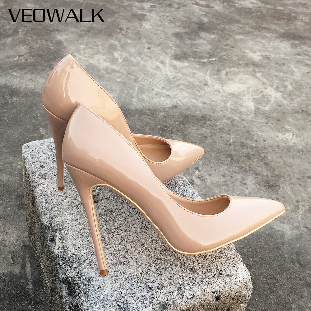 Veowalk Solid Color Women Sexy Pointed Toe Pumps Ultra High Thin Stiletto Heels Shoes Ladies Patent Leather Fashion Party Shoes big size 40 41 42 women pumps 11 cm thin heels fashion beautiful pointy toe spell color sexy shoes discount sale free shipping