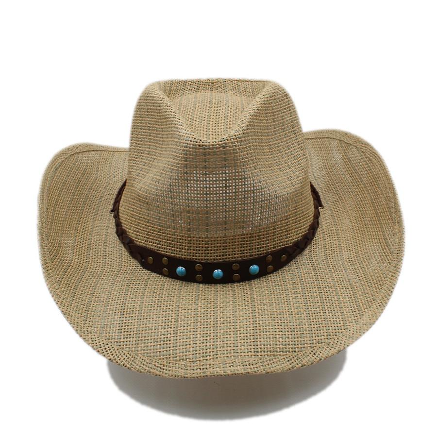 Mujeres Hombres hueco sombrero de vaquero occidental Caballero vaquera Jazz  Iglesia Cap ecuestre papá reina verano sombrero con cinta punk en Sombreros  de ... f06c68df4d9b