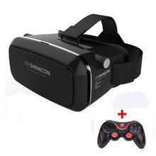VR Shinecon Virtual Reality 3D Glasses Head Mount Google Cardboard 3D Movies Game for 3.5-6.0 Inch Smart Phone+ Gamepad #B0
