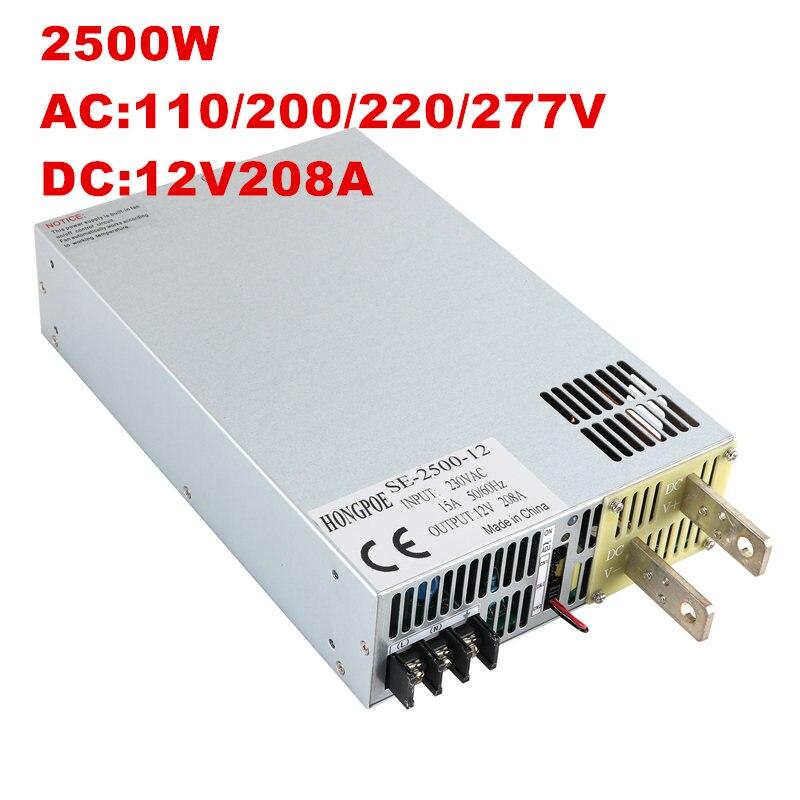 цена на 2500W 12V Power Supply 12V 208A Output Voltage Current Adjustable AC-DC 0-5V Analog Signal Control 0-12V 183A SE-2500-12 DC12V
