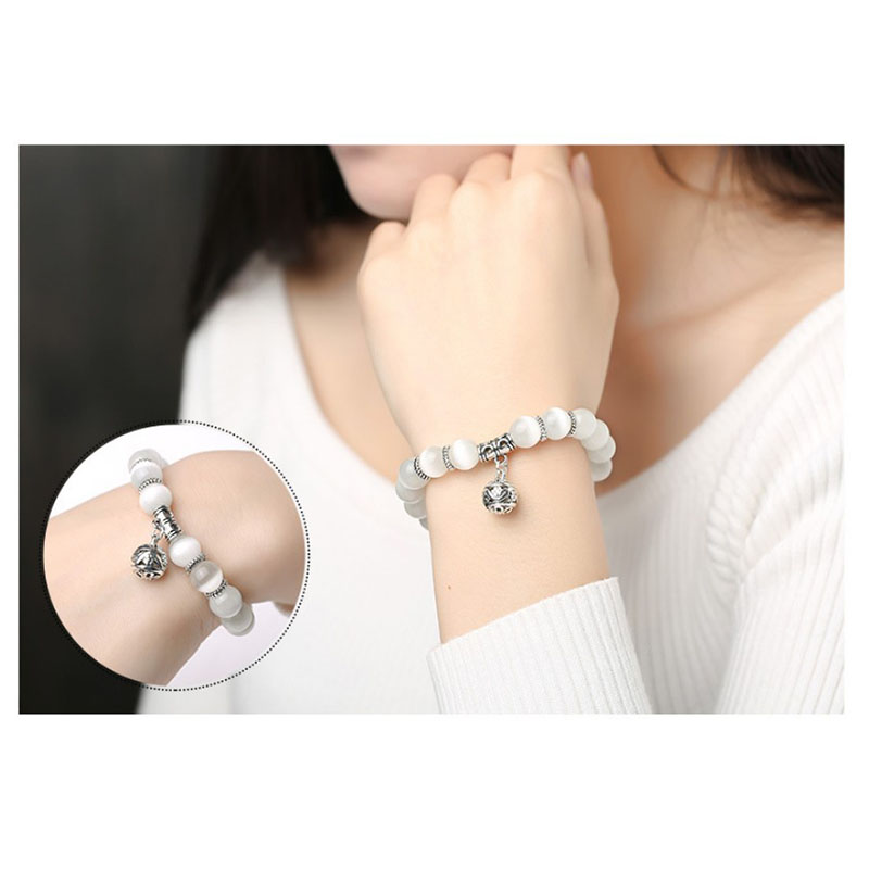 Weight Loss White Cat Eye Beads Bracelet with Lucky Pendant Therapy Bracelet Anklet Weight Loss Product Health Care