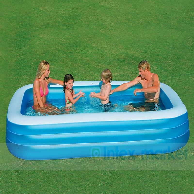 INTEX 305*183*56 CM famille gonflable piscine pliable baignoire coffre-fort Non-toxique jouer piscine adulte gonflable baignoire avec pompe