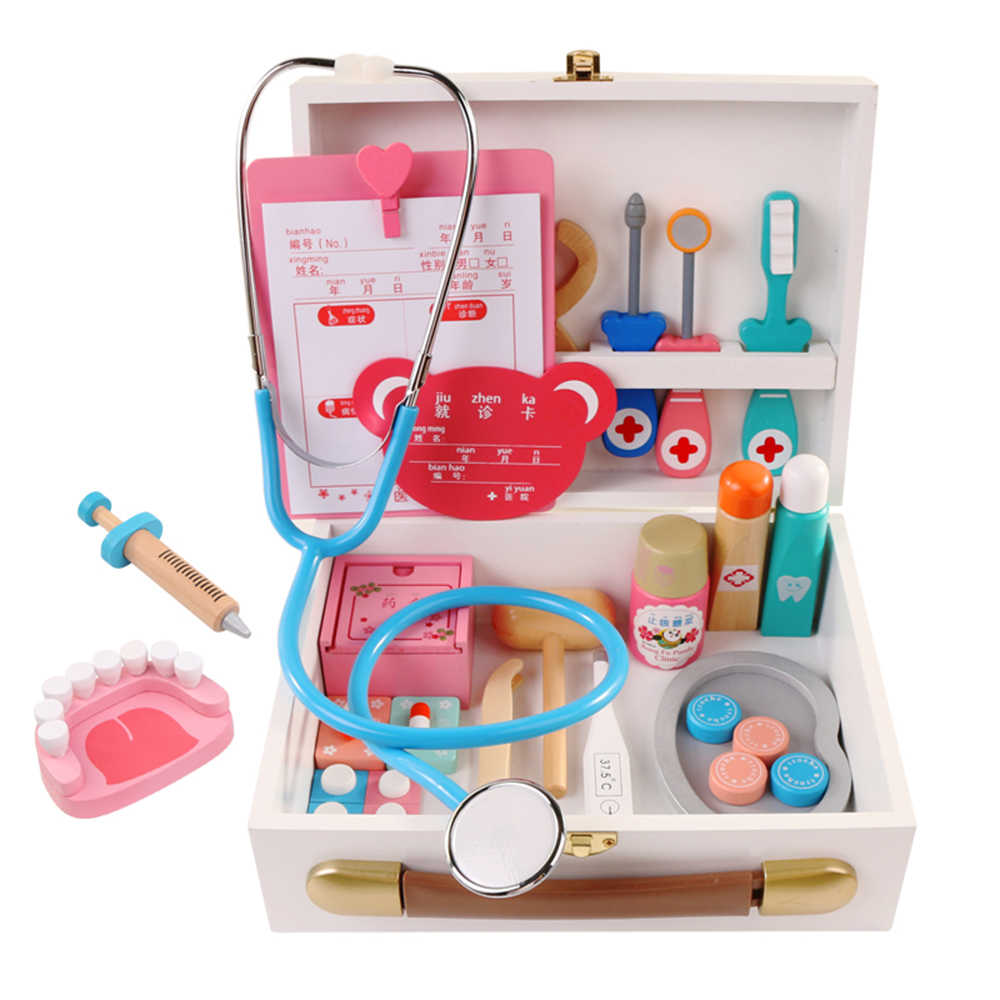 Children's Wooden Doctor Kit Realistic Pretend Play Doctor Toy Set Injection Tool Wooden Simulation Real Life Medicine Box Toys