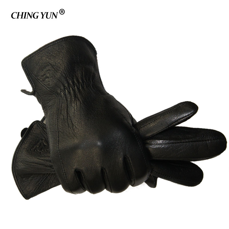 2018 New Winter Man Deer Skin Leather Gloves Male Warm Soft Men's Glove Black Three Lines Design Men Mittens Sheep Hair Lining