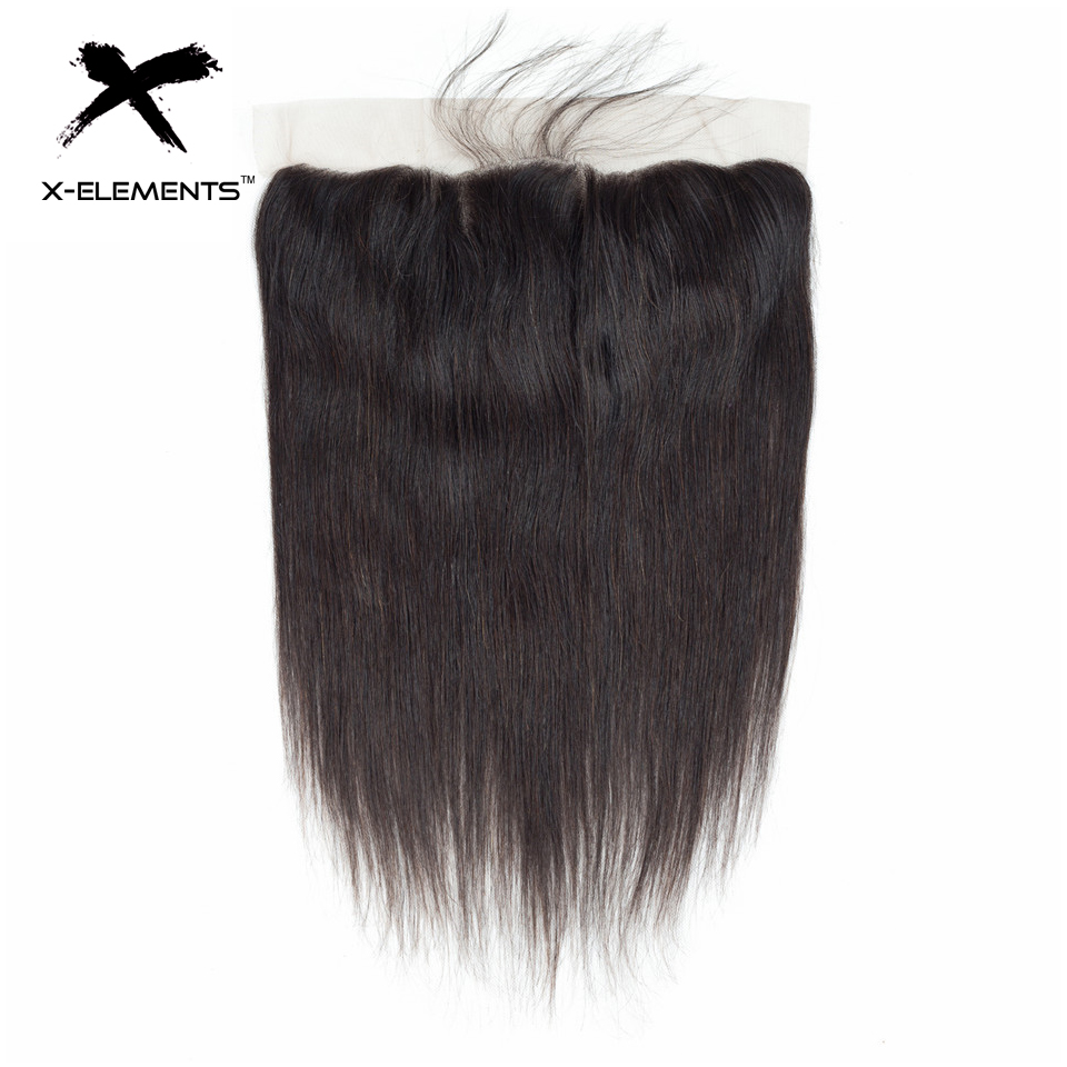 X-Elements Brazilian Straight Frontal 100% Human Hair 13x4 Lace Frontal With Baby Hair Non-Remy Natural Color Hair Extensions (15)