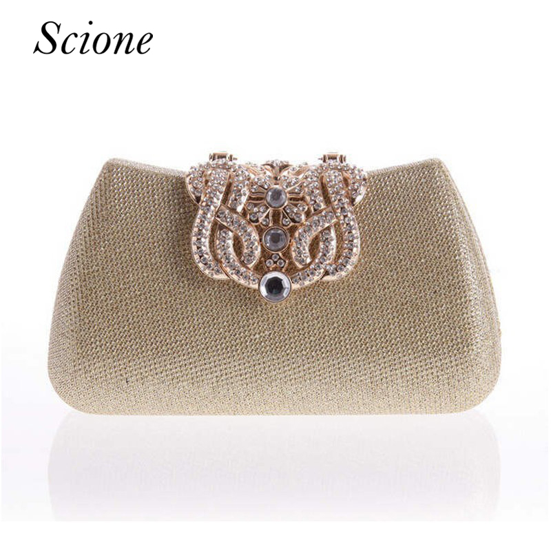 Gold Clutch Full Luxury Diamond Crown Evening bags Silver Evening Clutch Party Purse Glitter Wedding bags messenger bags Li363 the silver crown