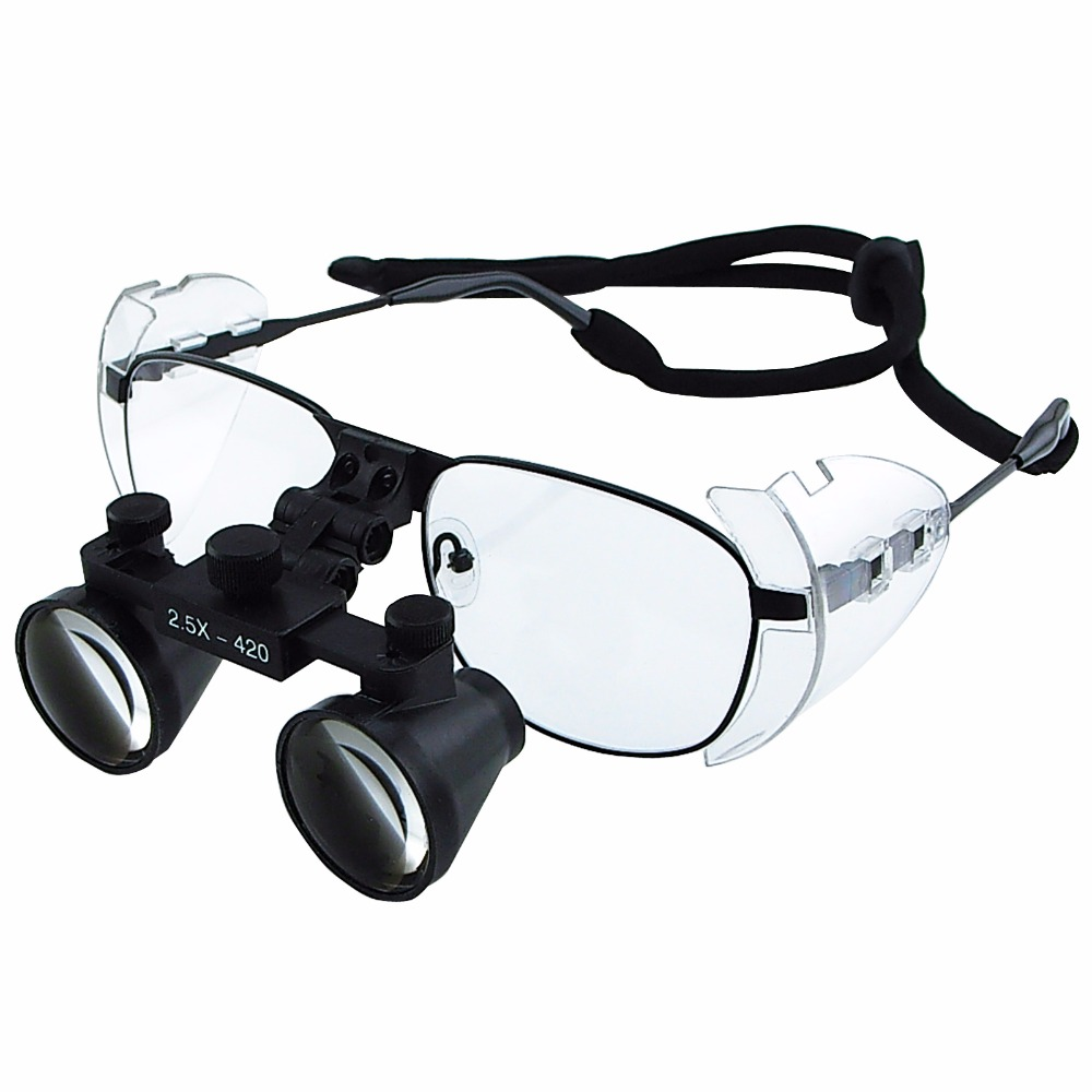2 5x Magnification Dental Loupes Galilean Style Titanium Frame 100mm Field of View Flip Up Function