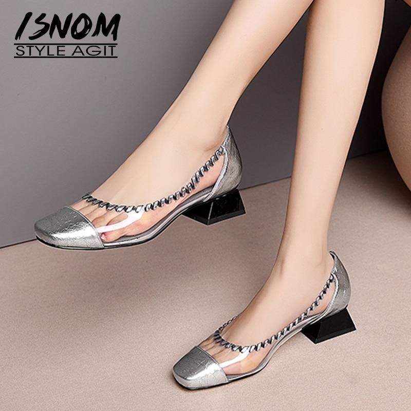 ISNOM Transparent Pvc Pumps Women Square Toe Footwear Thick Low Heels Shoes Female Patent Leather Shoes