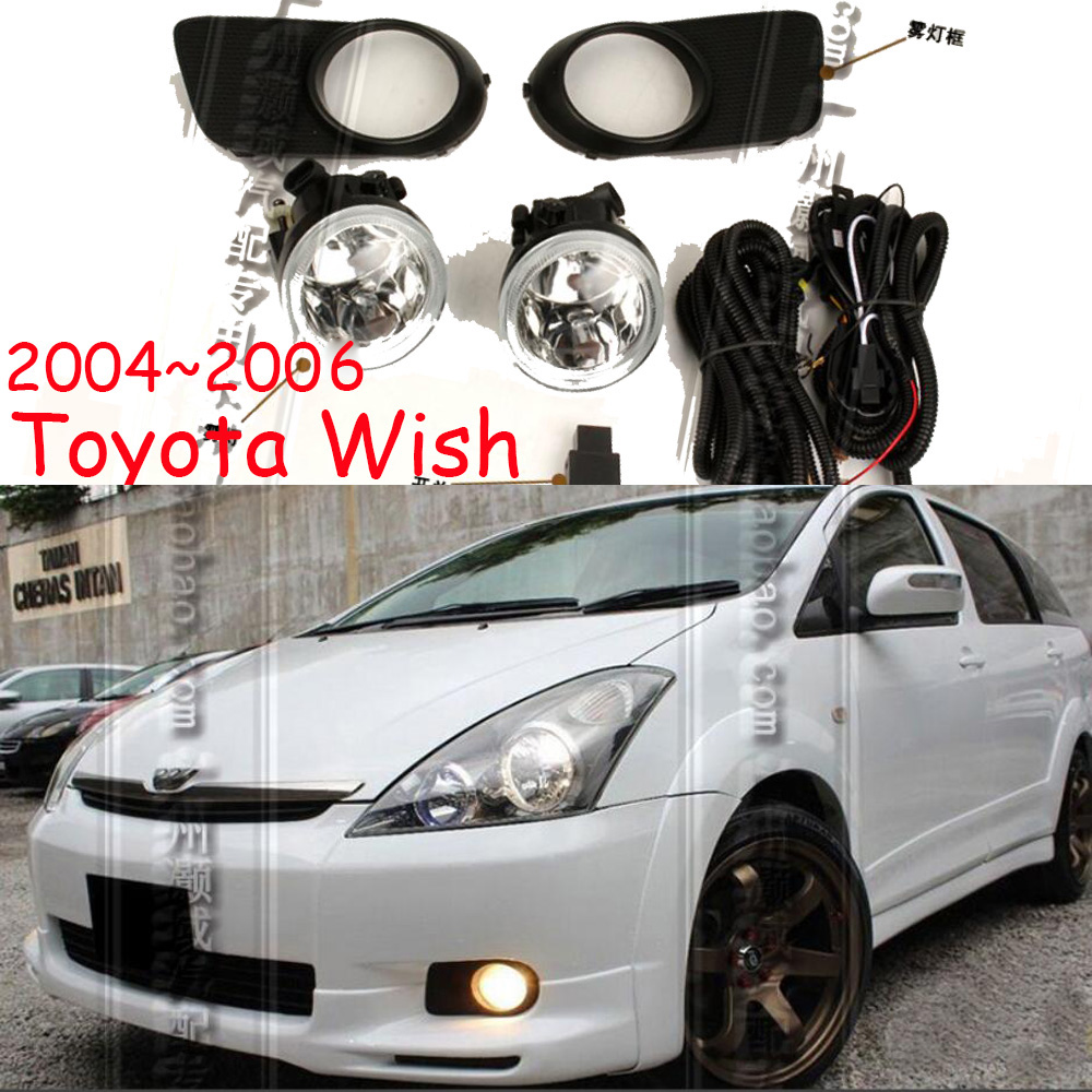 Car Accessories 1 Pair Bumper Wish Fog Lights Light Lamp And Grill Cover Headlight Daytime Light For Toyota Wish 2004~2006year