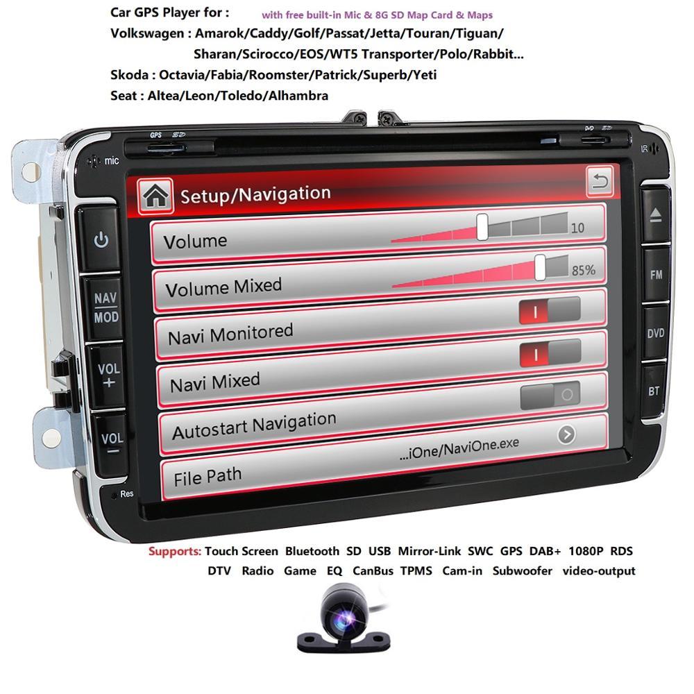 Lecteur Radio DVD GPS voiture 2 Din 8 pouces pour Volkswagen VW golf 5 6 touran passat B6 B7 sharan JATTA Skoda siège Autoradio multimédia
