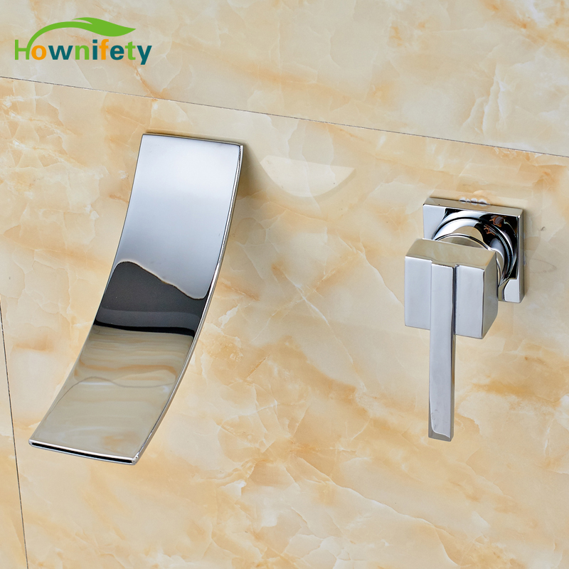 Contemporary Chrome Polished Bathroom Sink Faucet Single Handle Waterfall Spout Mixer Tap Wall Mounted