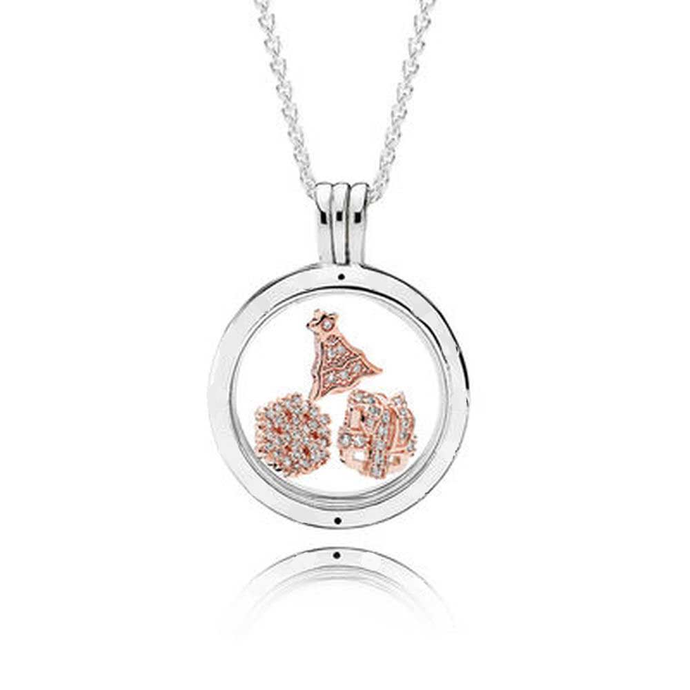 2019 100% 925 Sterling Silver ROSE FLOATING LOCKET SET fit charm original Necklace jewelry A set of prices2019 100% 925 Sterling Silver ROSE FLOATING LOCKET SET fit charm original Necklace jewelry A set of prices
