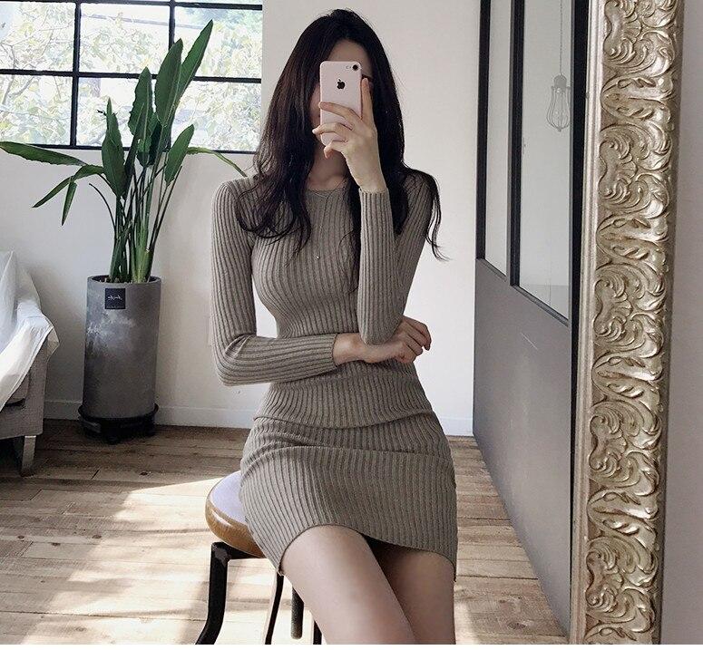 HTB1zSd bcnrK1RjSspkq6yuvXXaD - skinny  solid Elegant Autumn Dress Girls Boho Female Vintage Dress knitting Women LongSleeve Women Dresses knitted Robe Vestido