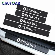 Adesivo de fibra de carbono para renault, estilizador de carro, 4 peças, porta automotiva, placa decalque para renault duster megane 2 logan renault clio acessórios