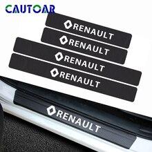 Adhesivo de fibra de carbono para puerta de coche, adhesivo de placa de desgaste para protector antipolvo para Renault megane 2 logan renault clio, accesorios, 4 Uds.