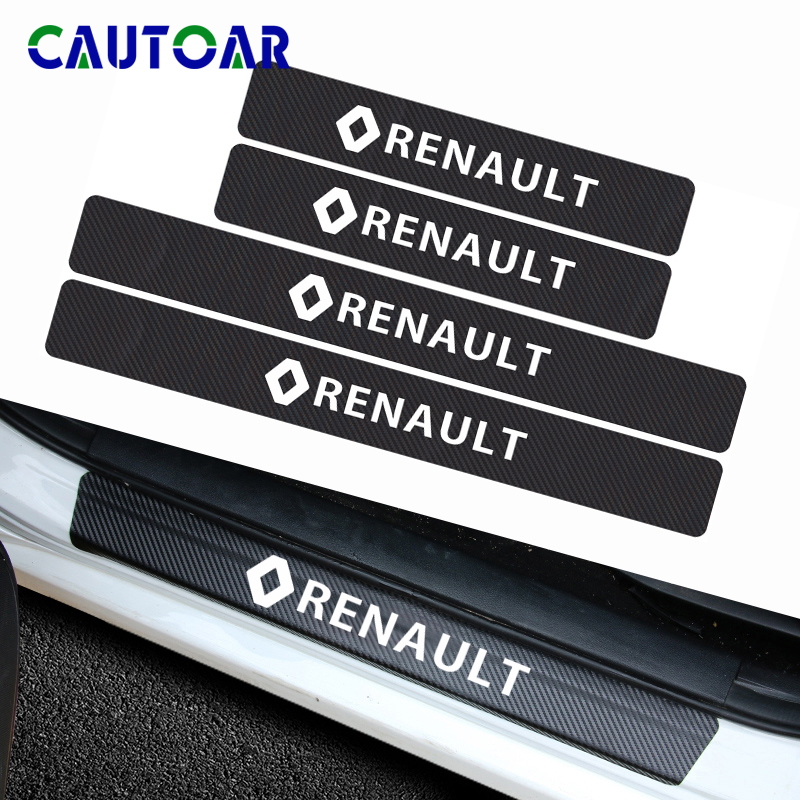 Car Styling 4pcs Carbon Fiber Car Door Scuff Plate Sticker Decal For Renault Duster Megane 2 Logan Renault Clio Accessories