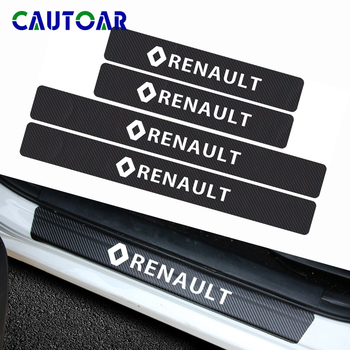 цена на Car styling 4pcs Carbon Fiber Car Door Scuff Plate sticker Decal for Renault duster megane 2 logan renault clio Accessories