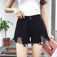 The new spring and summer  code flash waist thin hole mesh student cowboy wide leg pants shorts shorts