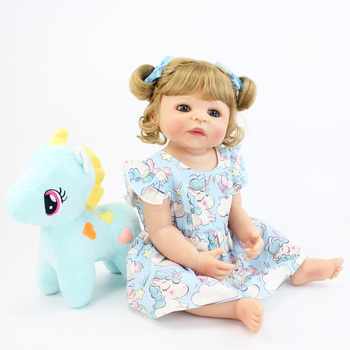 55cm Full Silicone Reborn Baby Doll Toy For Girl Vinyl Newborn Blonde Princess Toddler Babies Bebe Bathe Toy Cute Birthday Gift