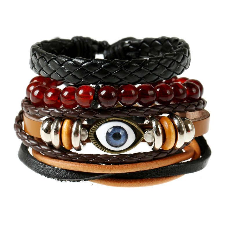 4 sztuk/zestaw Hippie Punk Evil Eye srebrny koralik Charm Wine Red Onyx koraliki czarna lina węzeł brązowy skórzany Macrame bransoletka Wrap zestaw człowiek