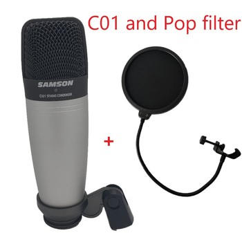 SAMSON C01 i filtr pop mikrofon kondensujący do nagrywania śpiew instrumenty akustyczne i do zastosowania jako mikrofon bębenkowy tanie i dobre opinie Mikrofon ręczny Mikrofon pojemnościowy Pojedyncze Mikrofon C01 and POP Filter Przewodowy Kardioidalna recording microphone