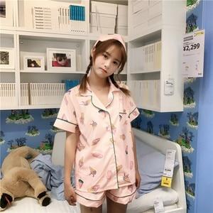 Image 5 - Sleep Lounge Women Pajamas Set with Shorts Cotton Sleepwear Short Sleeve Spring Summer Pyjama Flower Print Pijama Nightsuits