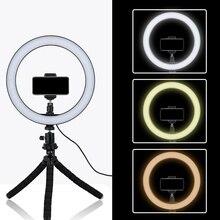 Tycipy 26 см Selfie светодиодный кольцевой светильник с мини-штативом подставка для телефона держатель для iPhone XS MAX 8 7 6 Plus смартфон фотография макияж