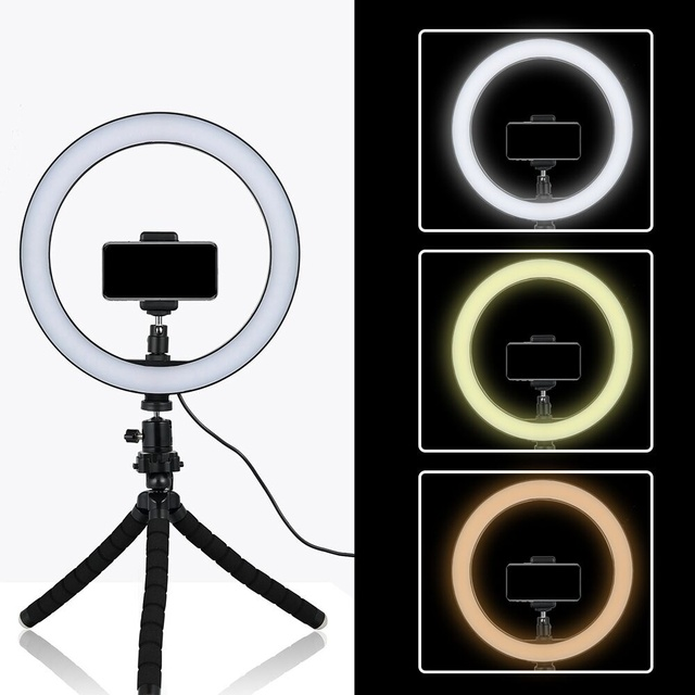 online store b1fa6 08f0c Tycipy 26cm Selfie LED Ring Light With Mini Tripod Stand Phone Holder For  iPhone XS MAX 8 7 6 Plus Smartphone Photography Makeup