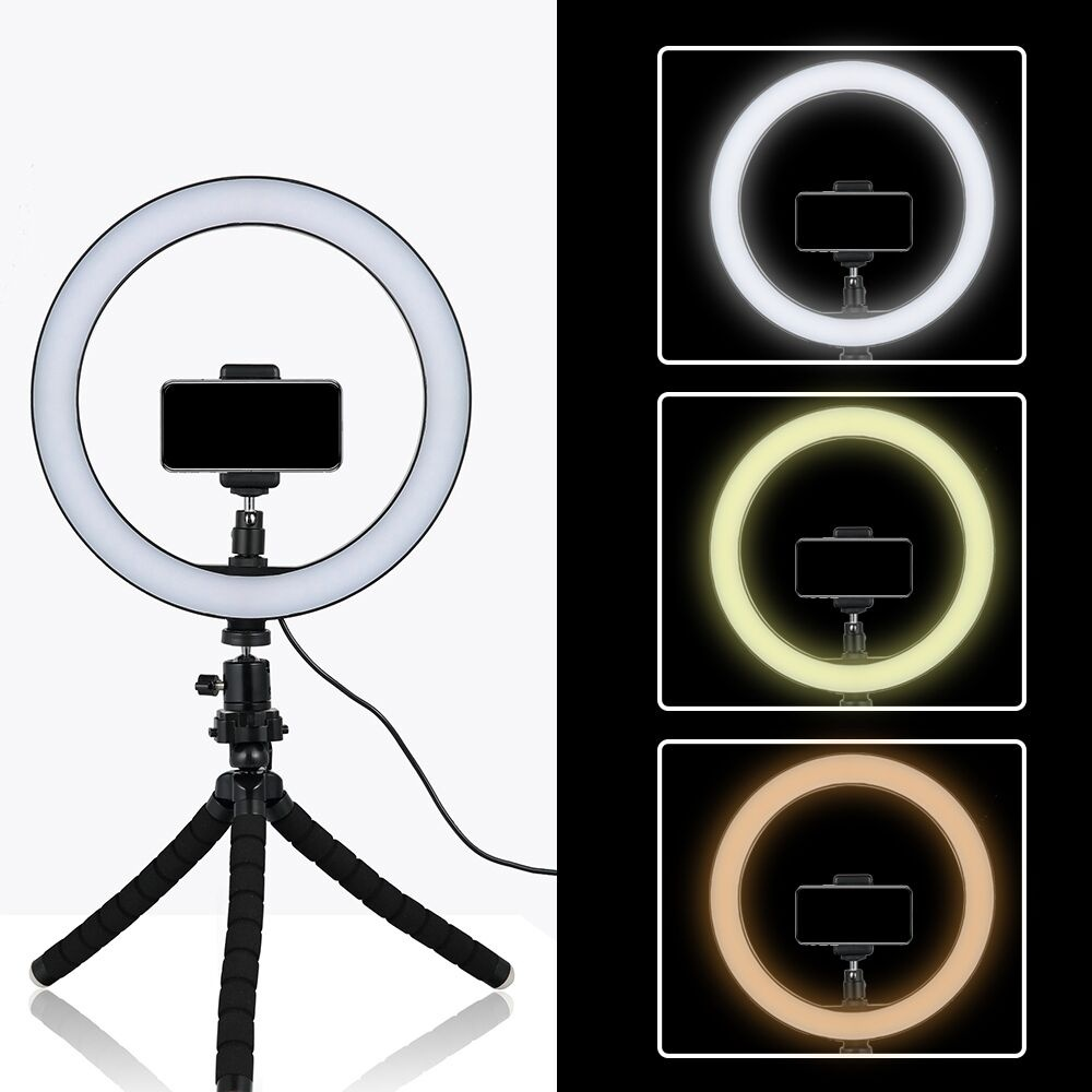 3 Modes Dimmable LED Camera Selfie Ring Light with 2 Phone Holder for Photography Makeup Videos Adapt for iPhone Android Tablet Dysel 10 Inch Ring Light with Tripod Stand