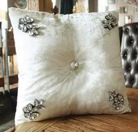 #1134 New velvet matching hand sewing fur diamond cushion pillow with filling sofa bed room wedding ornament dec wholesale