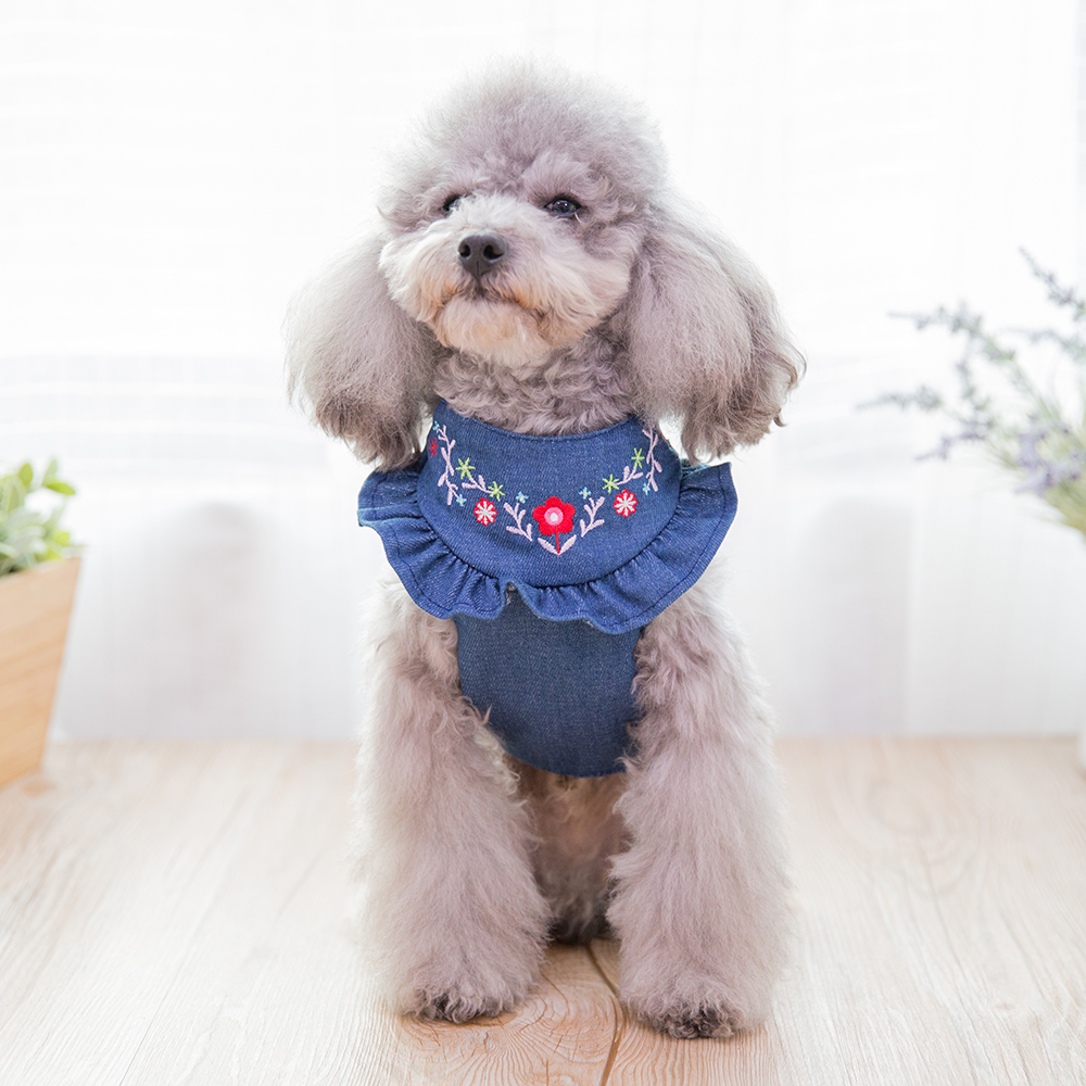 Hipidog Embroidery Jean Denim Adjustable Vest Dog Harness Leash Out Walking Dogs Supplies Chest Strap Rope Belts for Small Pets in Sets from Home Garden