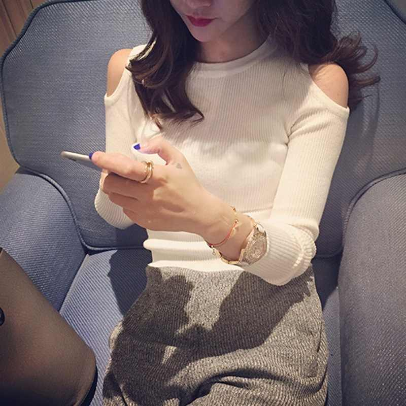 2019 섹시한 오프 숄더 스웨터 여성 패션 오-넥 긴 소매 풀오버 탑 여성 캐주얼 솔리드 스웨터 한국 여성 의류