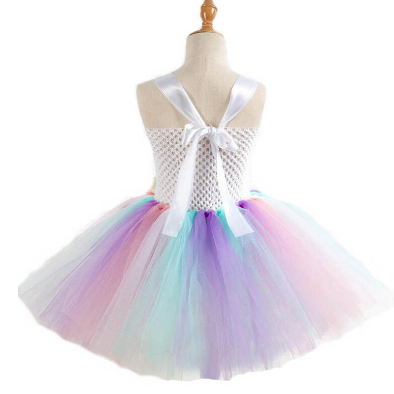 Image 3 - Rainbow Unicorn Costumes Pony Tutu Dress with Hair Band Princess Girls Party Dress Children Kids Halloween Unicorn Costume 2 10Y-in Girls Costumes from Novelty & Special Use